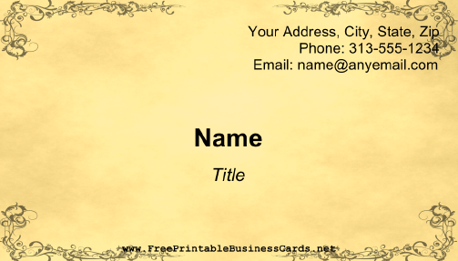Old Fashioned business card