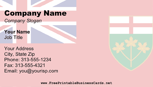 Ontario Flag business card