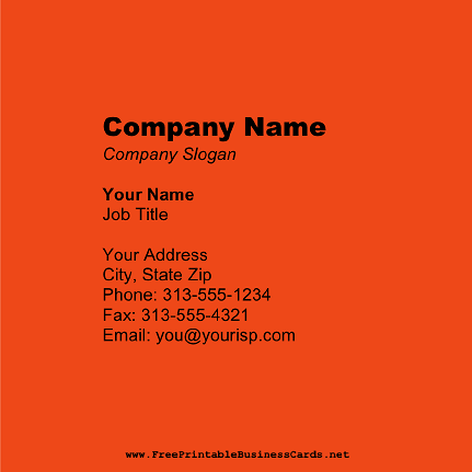 Dark Orange Square business card
