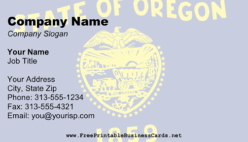 Flag of Oregon business card