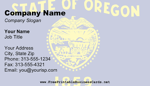 Oregon Flag business card