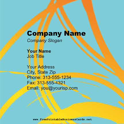 Orange On Blue Square business card