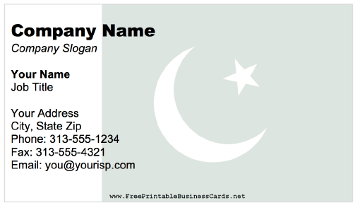 Pakistan business card