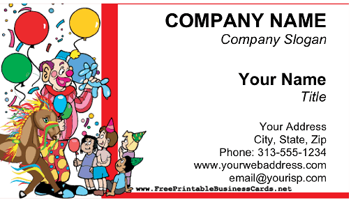 Party Planning business card