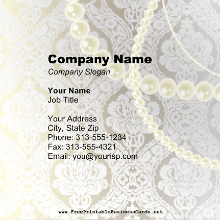 Pearl And Lace Square business card