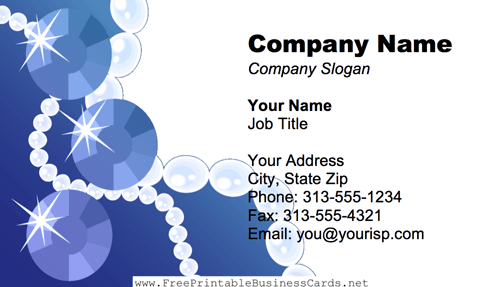 Pearl Necklace Blue business card