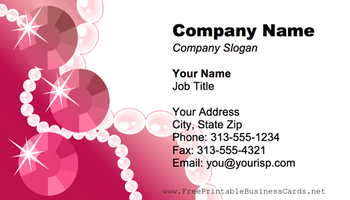 Pearl Necklace Pink business card