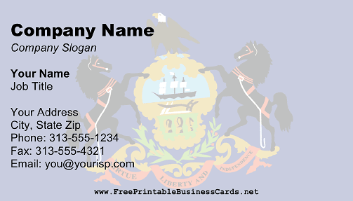 Flag of Pennsylvania business card