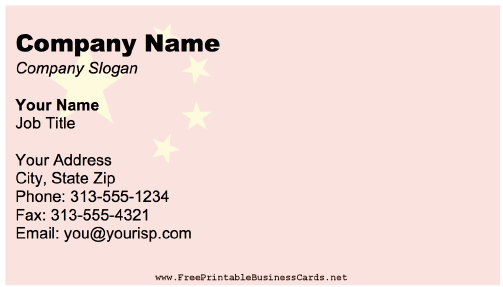 Peoples Republic Of China business card