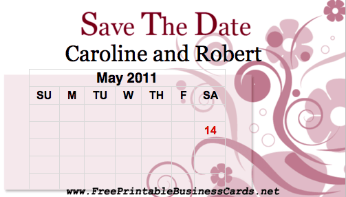 Pink Flourish Save the Date Card with calendar business card