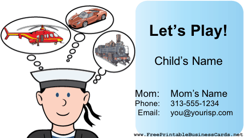 Play Date Card (Boy) business card