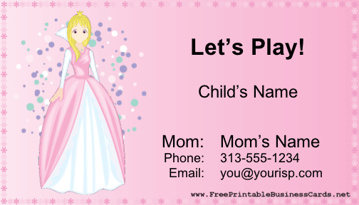 Play Date Card (Girl) business card
