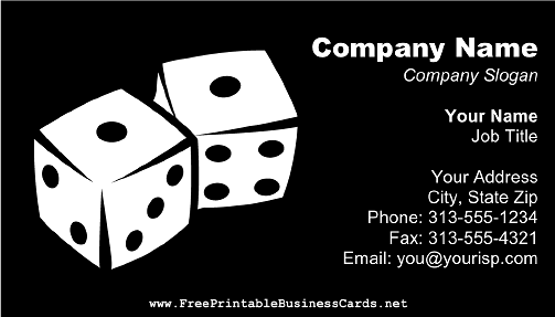 Dice business card