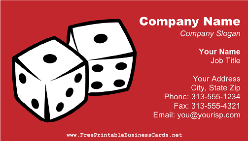 Dice On Red business card