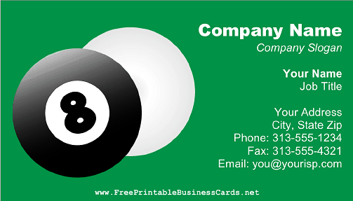 Pool Balls business card