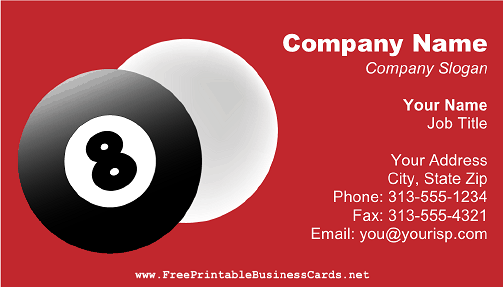 Pool Player business card