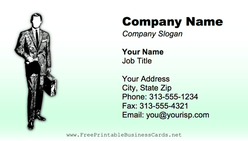 Professional Man Black business card