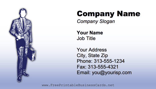 Professional Man Blue business card