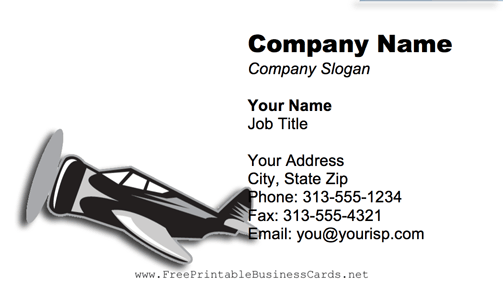 Propeller Plane business card