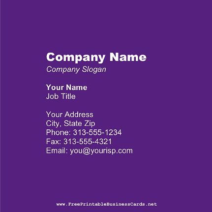 Purple Square business card