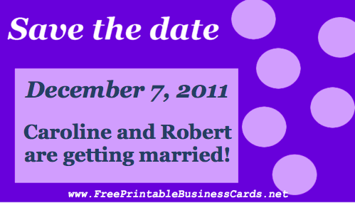 Purple Bubbles Save the Date Card business card