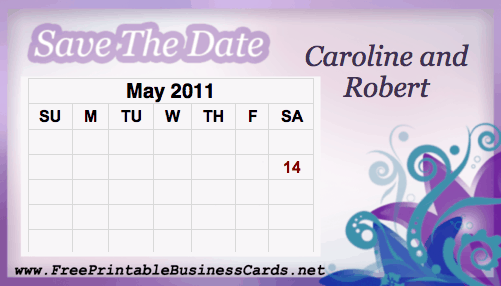 Purple Save the Date Card with calendar business card