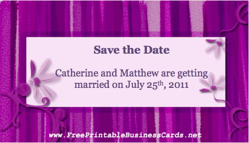 Purple Save the Date Card business card