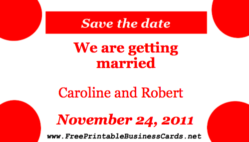 Red Bubbles Save the Date Card business card