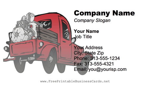 Red Dump Truck business card