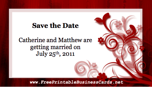 Red Floral Save the Date Card business card