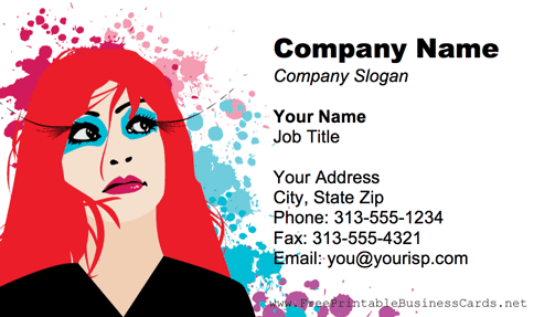 Redhead Woman business card
