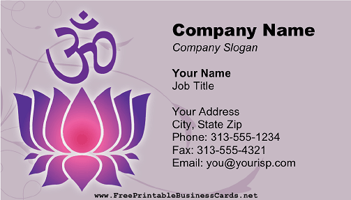 Religious Sanskrit business card