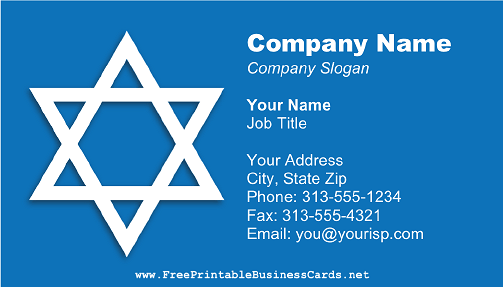 Rabbi business card
