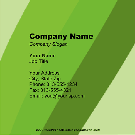 Retro Green Square business card