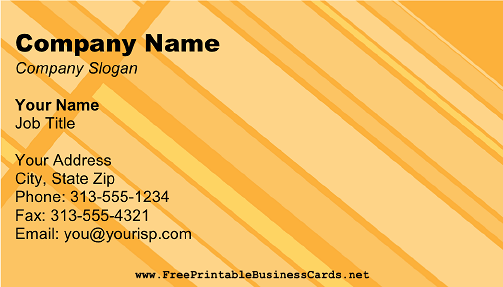 Retro Yellow Stripes business card