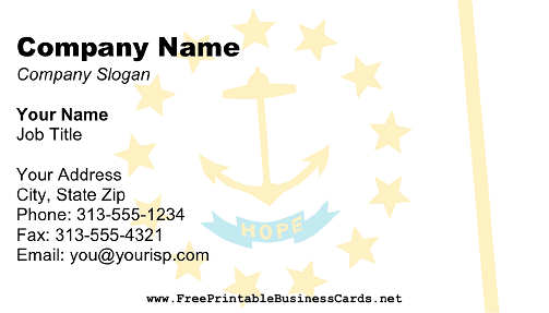 Flag of Rhode Island business card