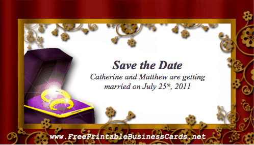 Wedding Ring Save the Date Card business card