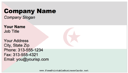 Sahrawi Arab Democratic Republic Business Card business card