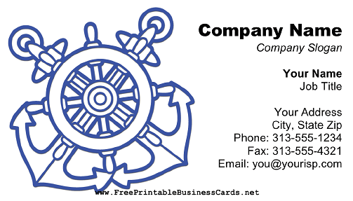 Ship Anchor and Rudder White business card