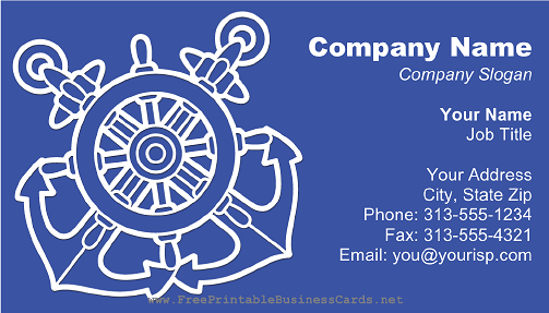 Ship Anchor and Rudder Blue business card