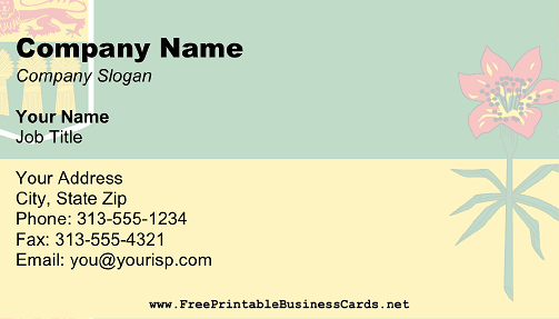 Saskatchewan Flag business card