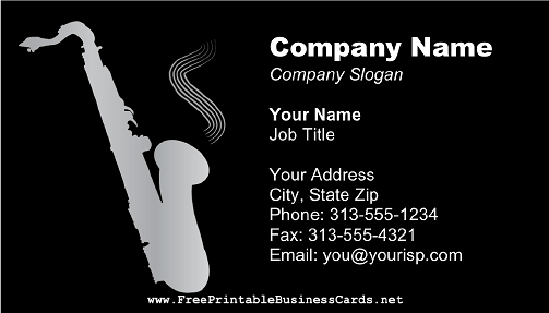 Saxophone Black business card