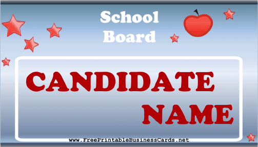 School Board Sign business card