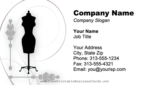 Seamstress Dummy business card