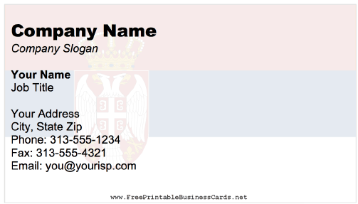 Serbia Business Card business card