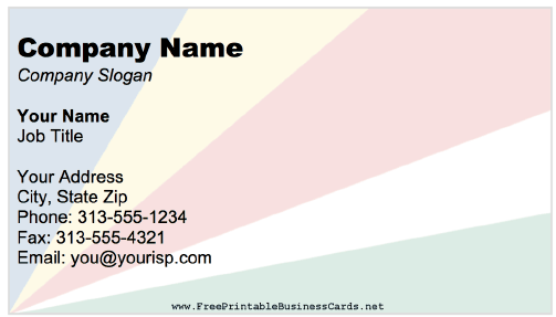 Seychelles Business Card business card