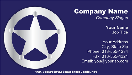 Silver Badge on Blue business card