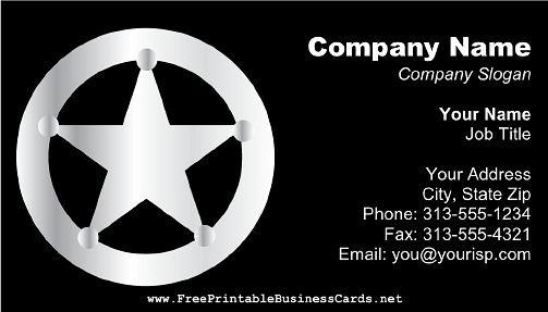 Silver Badge on Black business card