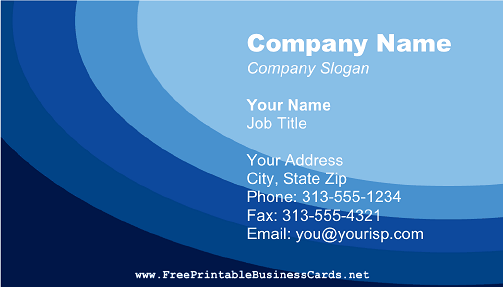 Blue Curves business card