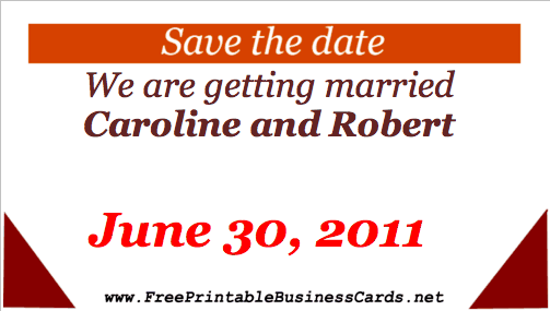 Save the Date Card business card